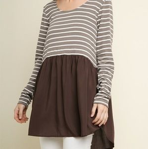 Stripe & solid tunic top.